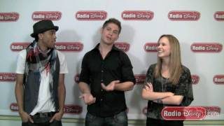 Meaghan Martin & Mdot teach Jake a song from Camp Rock 2 on Radio Disney
