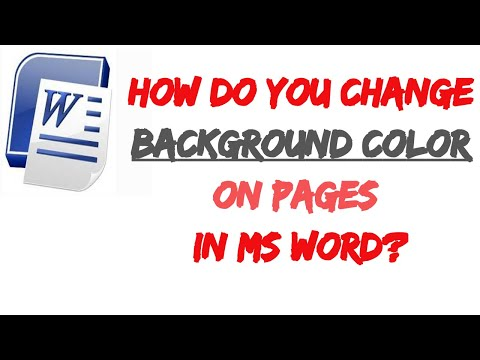 How Do You Change Background Color On Pages On Ms Word