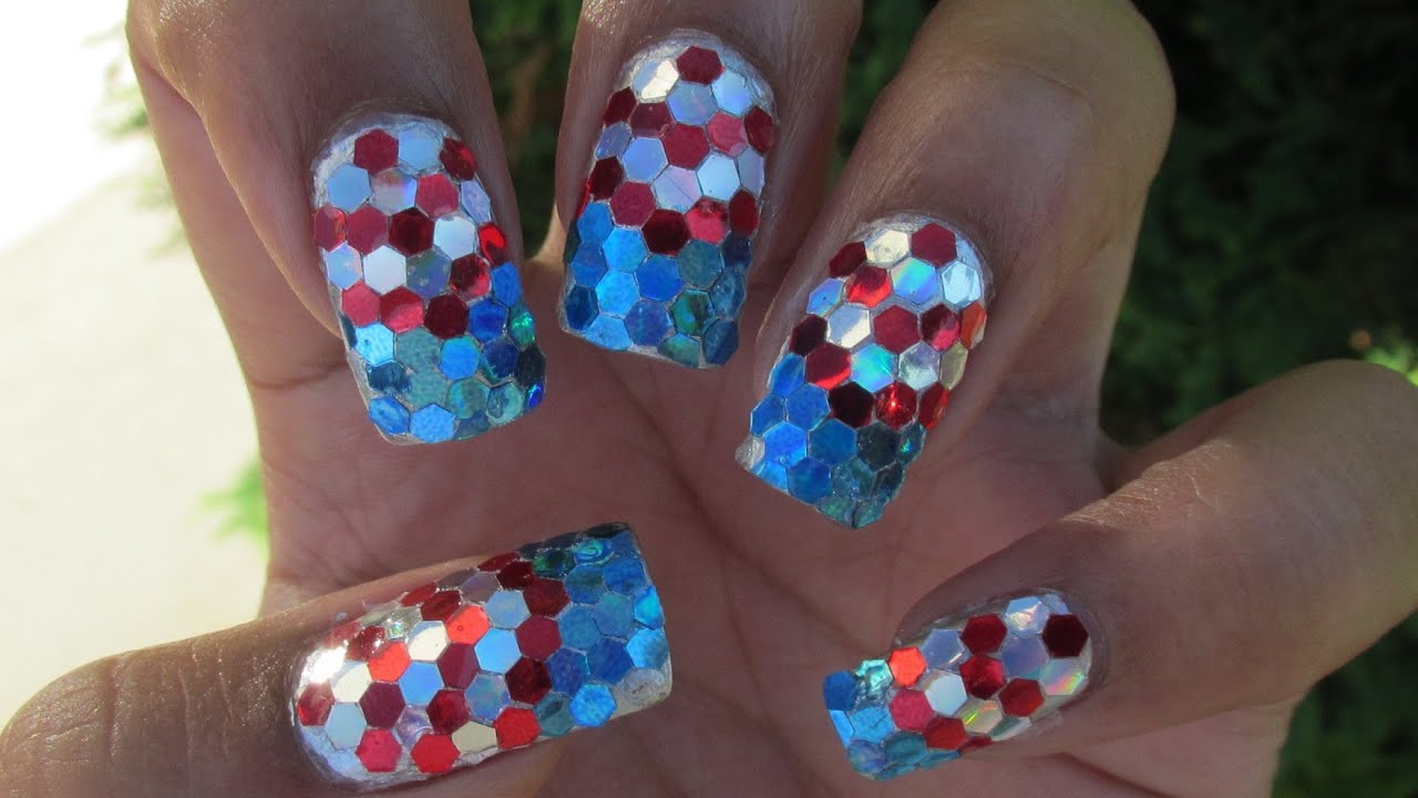 Patriotic Glitter Placement Nail Art Tutorial - YouTube