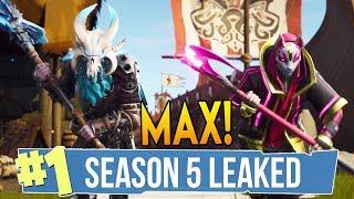 """Fortnite Season 5 Battle Pass + LEAKED SKINS, """"MAX LEVEL SKINS"""" & MORE! (Fortnite Battle Royale)"""
