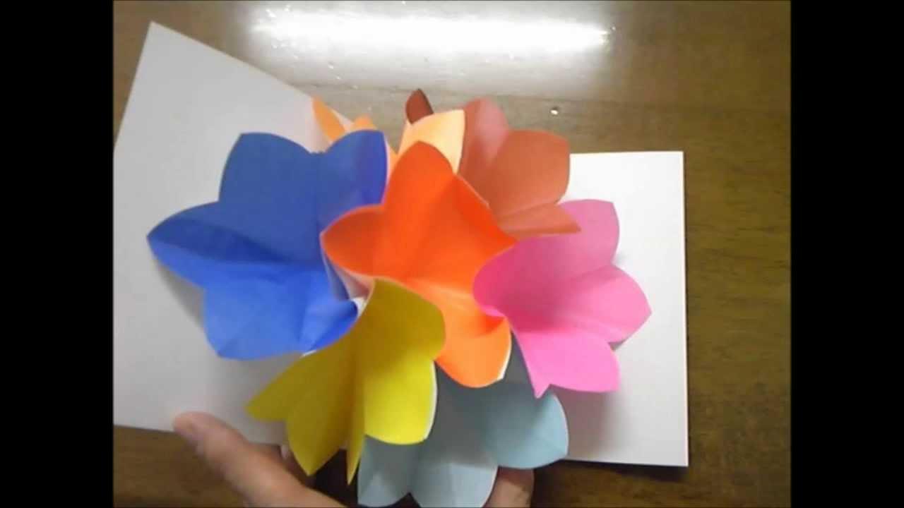 花 折り紙 花 折り紙 作り方 : ... カード2 作り方 | Doovi