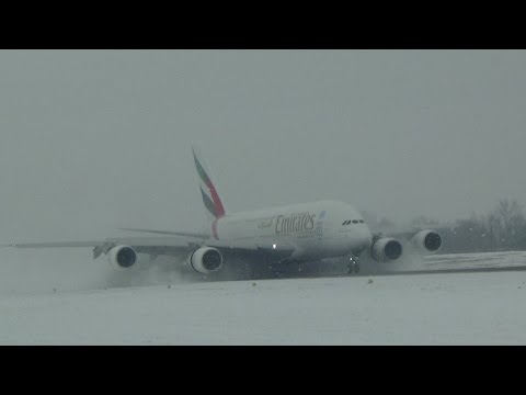 Emirates A380 landing in Zurich snow storm