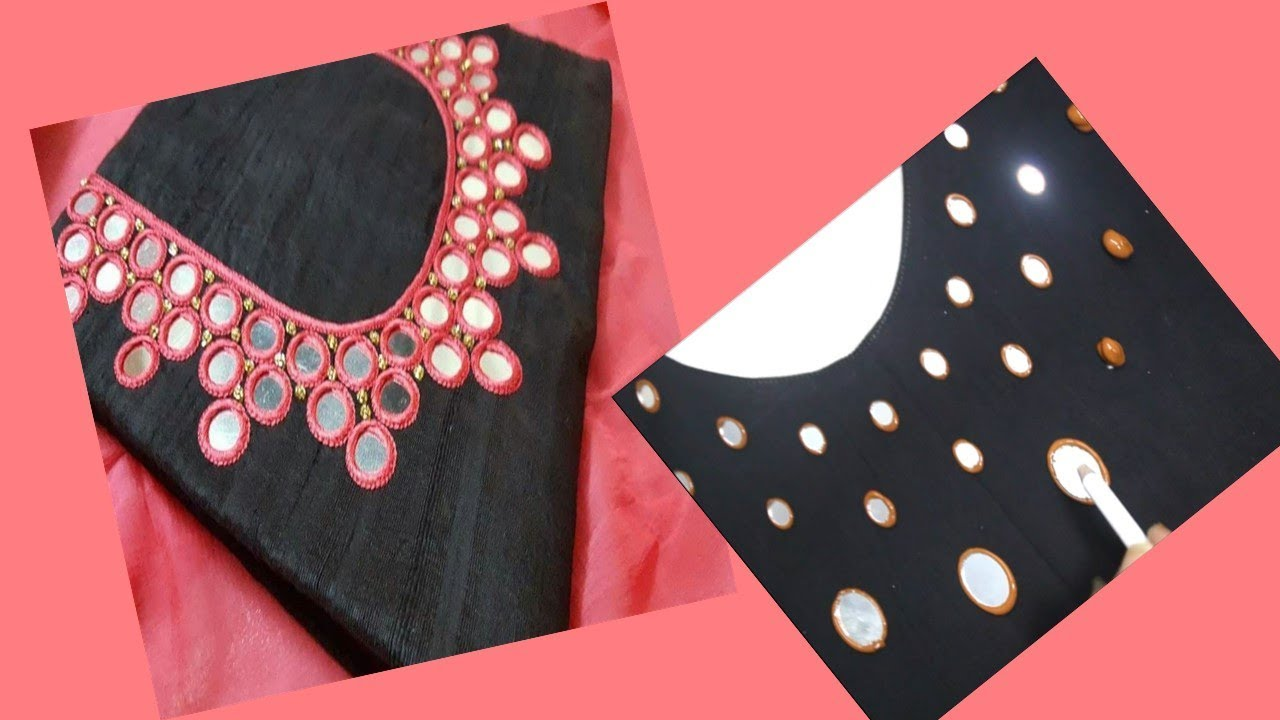 be4b0d6f750b53 Embroidery Mirror Work For Round Neck Kurti / Kurta / Chudidar (DIY) Very  Easy To Make