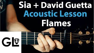 Baixar Flames - Sia, David Guetta: Acoustic Guitar Lesson/Tutorial 🎸How To Play Chords/Rhythms