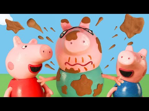 Peppa Pig Official Channel | Peppa Pig Stop Motion: Muddy Puddle Bucket Challenge Peppa Pig