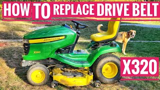 How to Replace Drive Belt John Deere X320 Riding Mower belt M151277 Transmission