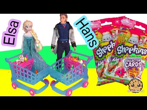 Disney Frozen Queen Elsa VS Prince Hans Unboxing 2 Shopkins Collector Card Blind Bags While Shopping