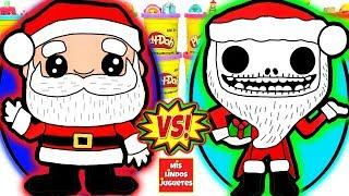 Huevos Sorpresa Gigantes de Papa Noel o Santa Claus VS Santa Jack de Plastilina Play Doh en Español