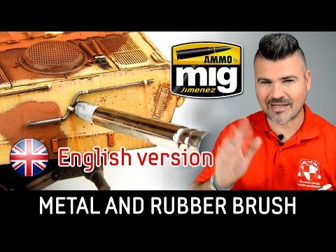 Appling metal pigment with Rubber Brush