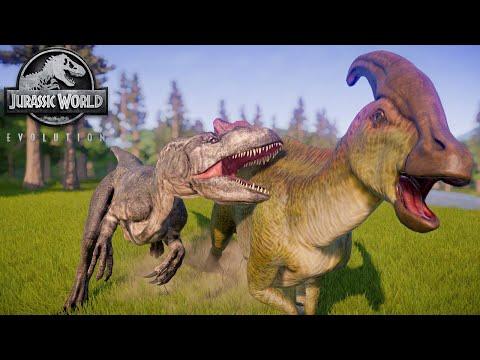 Charonosaurus And Edmontosaurus Herd Hunted Down By Big AL - Jurassic World Evolution