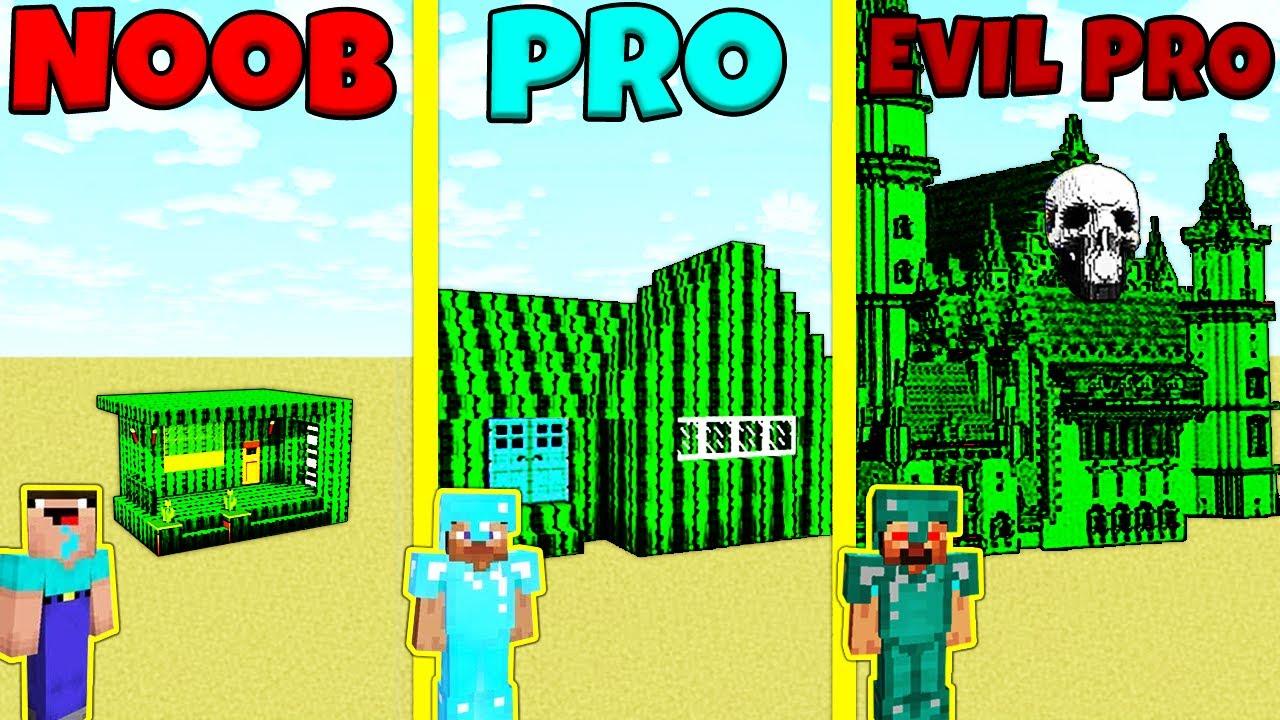 Minecraft Battle: NOOB vs PRO vs EVIL PRO: CACTUS HOUSE BUILD CHALLENGE / Animation