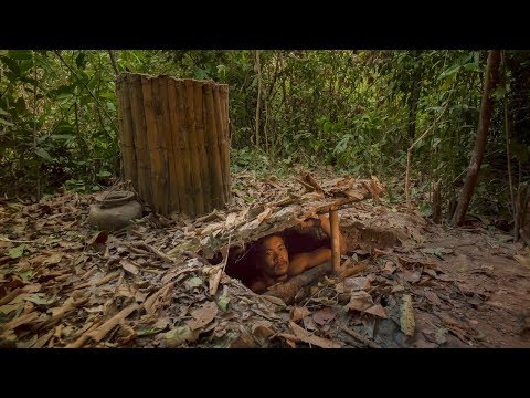 Building The Most Secret Underground Bamboo House under water well