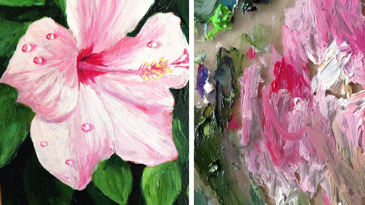Oil Painting Timelapse Hibiscus With Water Drops Youtube