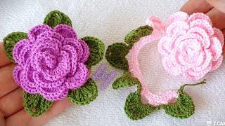 çok kolay yapraklı gül yapımı ROSE fabrication crochet