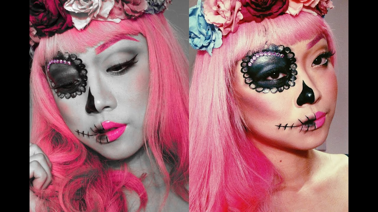 Half Face Sugar Skull Makeup - Mugeek Vidalondon