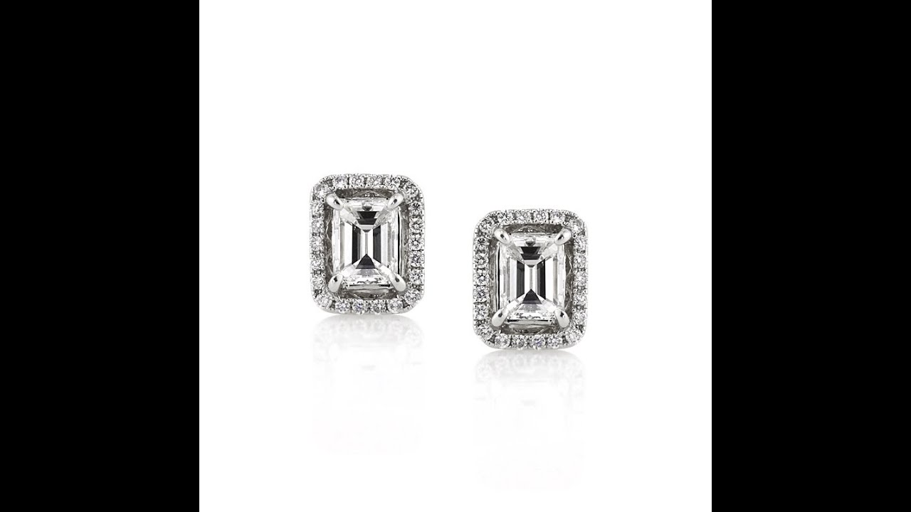 1 30ct Emerald Cut Diamond Stud Earrings Mark Broumand