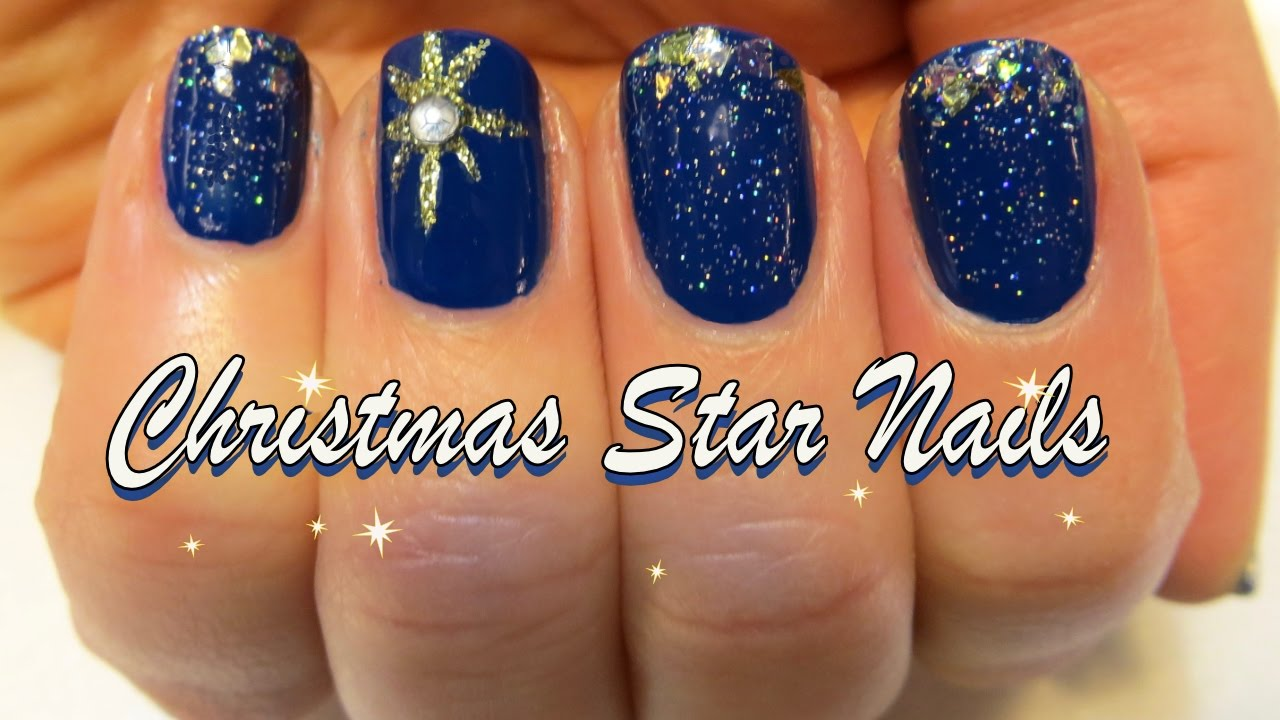 Christmas Star Nails Glitter Star Nail Tutorial Holiday Series