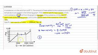 A substance is in the solid form at `0^`C. The amount of heat added to this substance and its te...