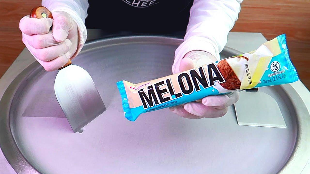 Melona ice cream ice cream rolls street food - ايسكريم رول ايس كريم ميلونا