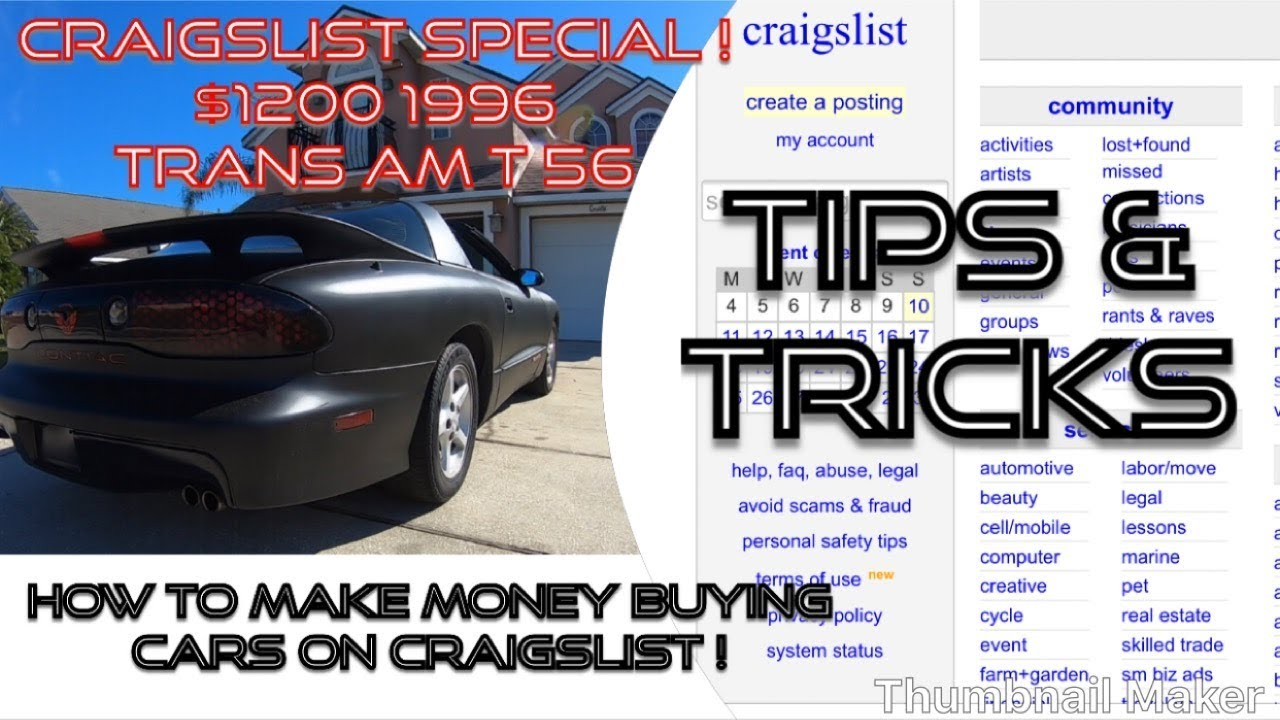 HOW TO MAKE MONEY FLIPPING CARS FROM CRAIGSLIST 1996 Trans Am T56  Craigslist Special!