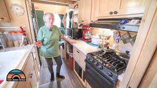 At 77 She Sold Half Of Her Stuff To Live In Her Downstairs Bedroom Tiny Home On Wheels