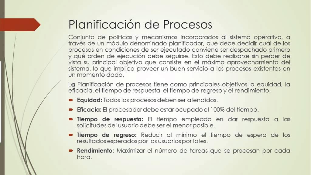 Planificación de Procesos (Sistemas Operativos