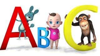 Funny Monkey learning the alphabet with friends