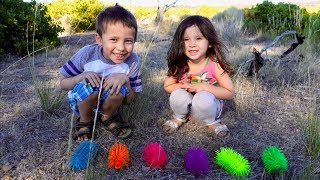 Learn Colors Outside with Squishy Toy Hunt