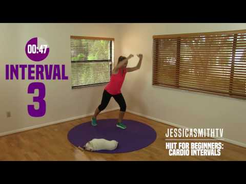 HIIT for Beginners: Cardio Intervals, Fat Burning Exercise, Full Workout Video at Home No Equipment