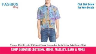 ★★★ Vintage 1946 Regular Fit Short Sleeve Seersucker Batik Stripe Print Sport Shirt ★★★ | Rooney Smite