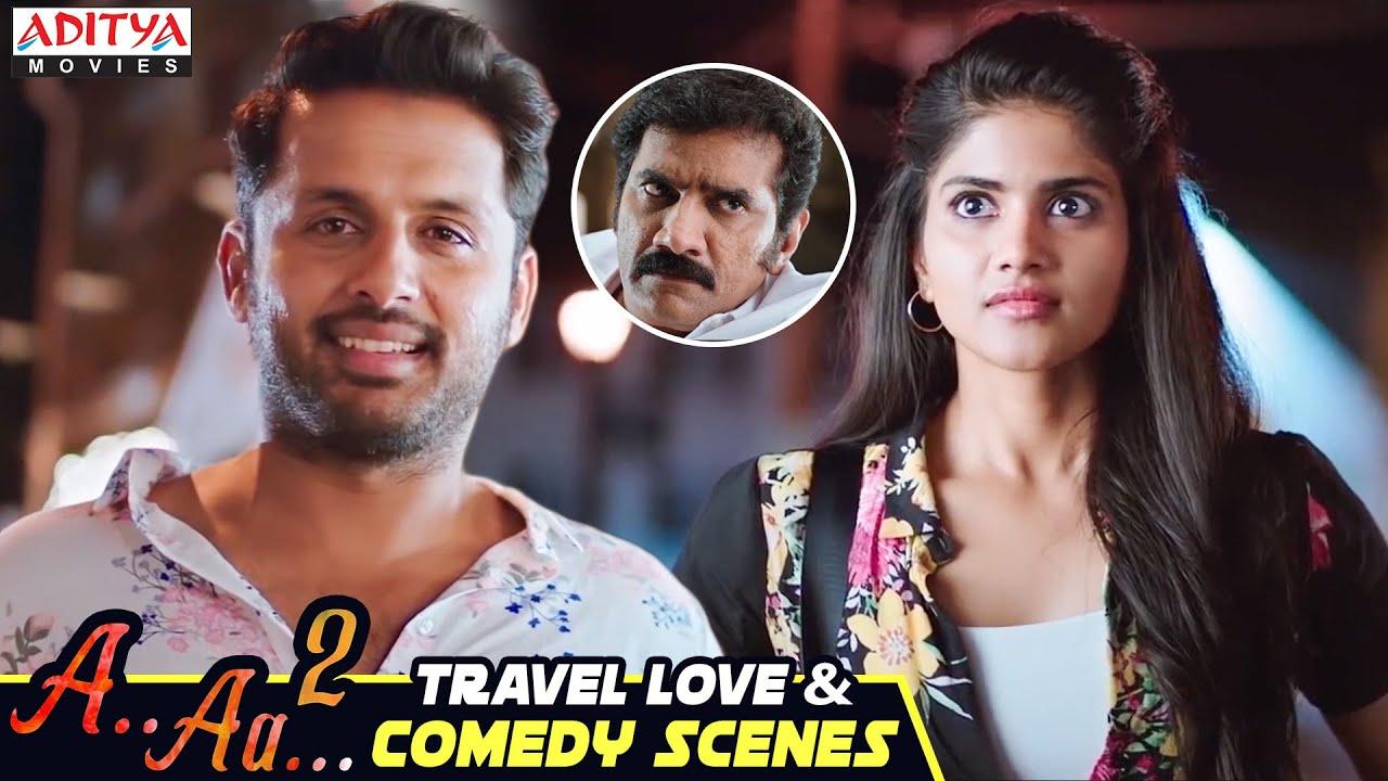 Nithin & Megha Akash Travel Love & Comedy  Scenes | A Aa 2 Latest Hindi Dubbed Movie | Aditya Movies