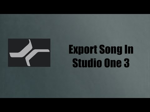 How To Export A Song In Studio One 3