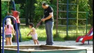 Funny Kid - Dad Walks His Child on a Leash Like a Dog - Funny Dad