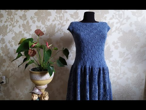 """Платье """"Ночной дождь"""" (спицами). Часть 3. Горловина, обзор."""