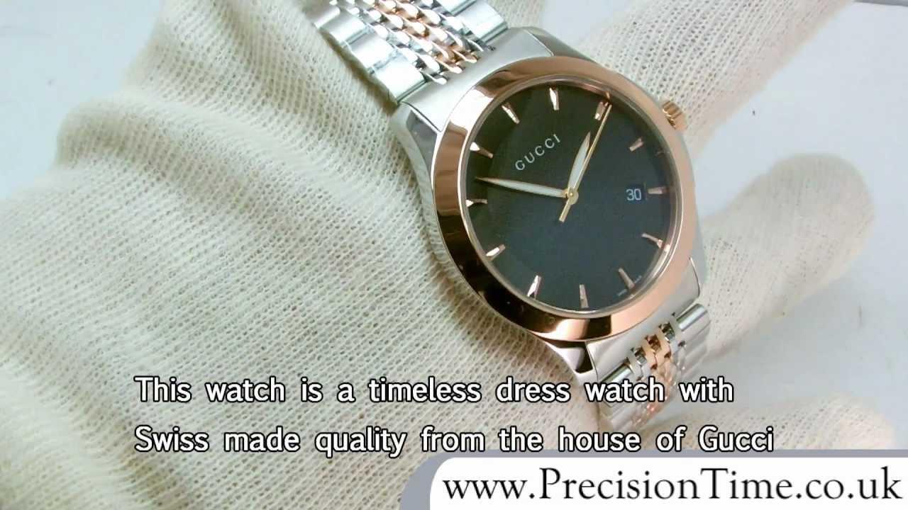 490651e998b Gucci YA126410 G-Timeless Rose-gold Gents Watch - YouTube