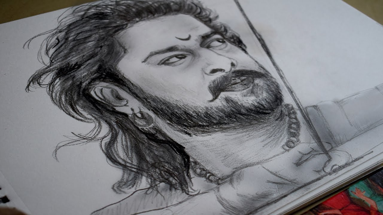Bahubali 2 pencil sketch of prabhas speed video