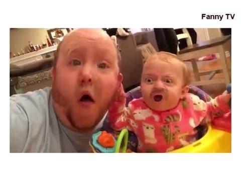Очень смешное видео, отец и ребенок  поменялись лицами