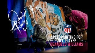 Jessica Haas Speed Paints Double for NFL Player Deangelo Williams + Presents Surprise Painting