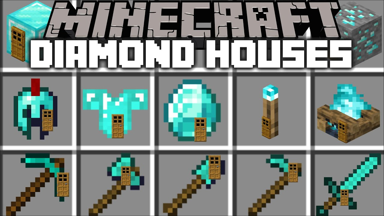 Minecraft DIAMOND HOUSE MOD / SPAWN INSTANT DIAMOND STRUCTURES