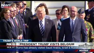 MUST WATCH: President Trump & First Lady Melania Arrive in Brussels, Belgium on Air Force One (FNN)