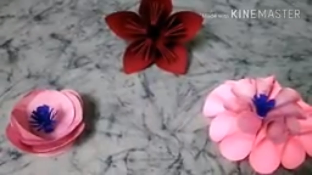 3 Different Types Of Paper Flowers Tutorial Easy For