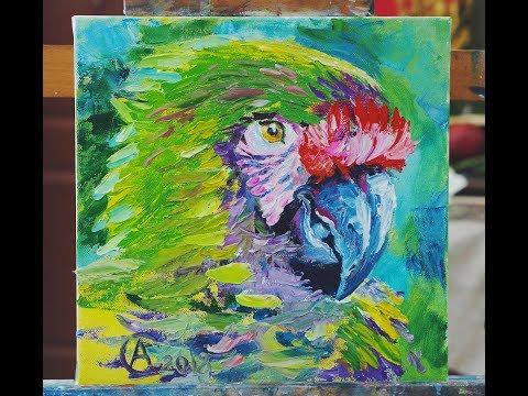 Мастер класс с Алёной Сергий №4. Яркий попугай мастихином.