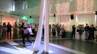 Необычный первый свадебный танец на полотнах, гости не ожидали)