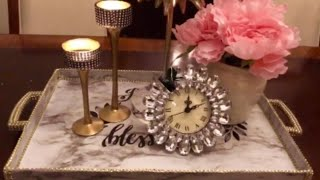 How To DIY  Glam Vanity Tray Room Decor Creating Elegance For Less With Faithlyn McKenzie 2019