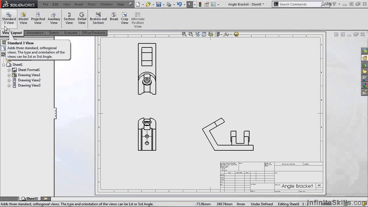 SolidWorks - Drawing Tools Tutorial | Standard 3 View - YouTube