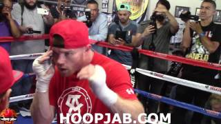 Canelo Alvarez Shows Off Floyd Mayweather Like Moves During Media Workout For Liam Smith Fight.
