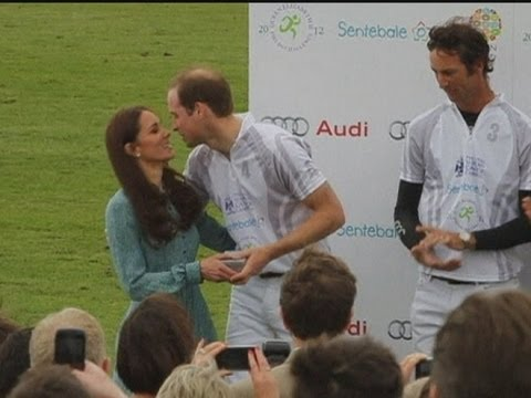 Kiss me Kate! William and Harry get a peck on the cheek from the Duchess of Cambridge