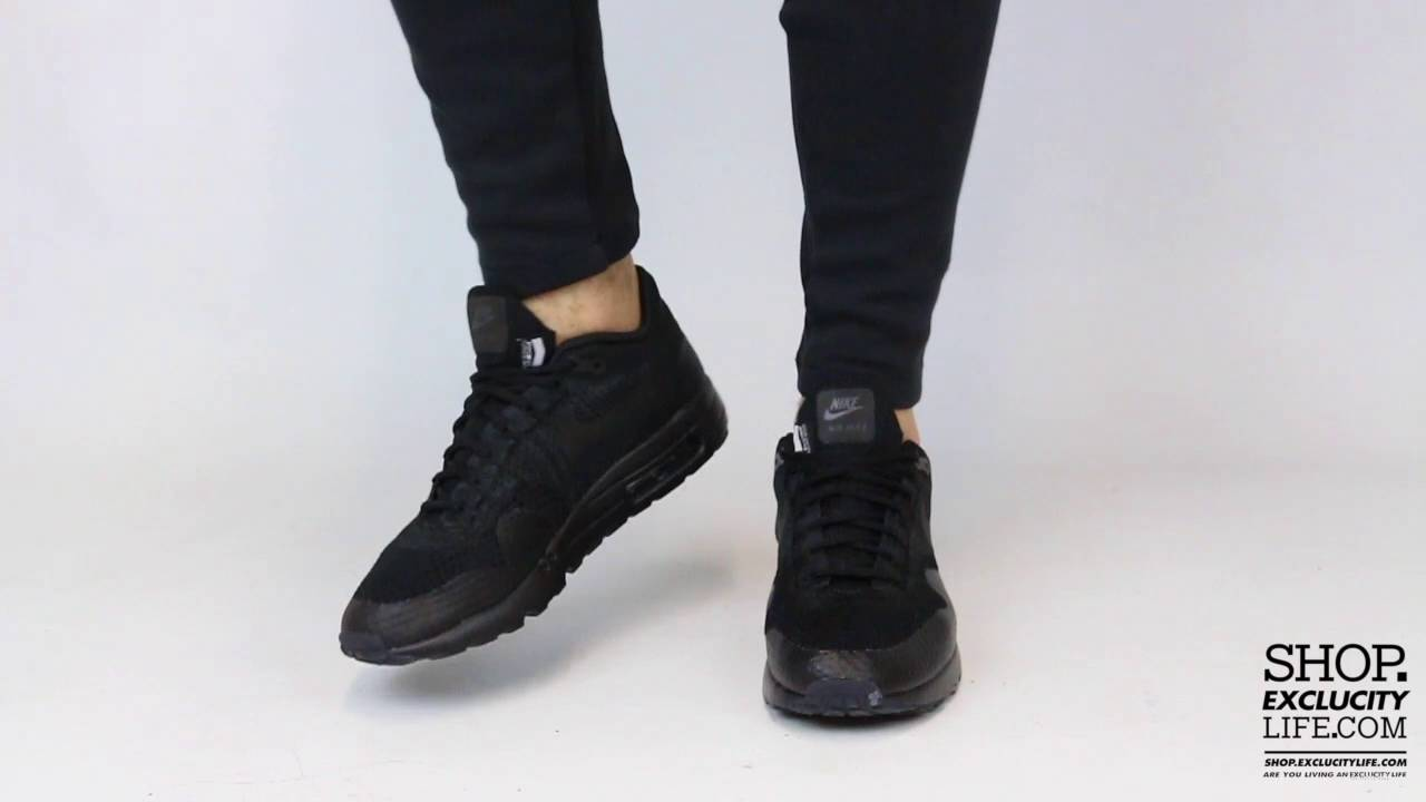Air Max 1 Ultra Flyknit Triple Black On feet Video at Exclucity
