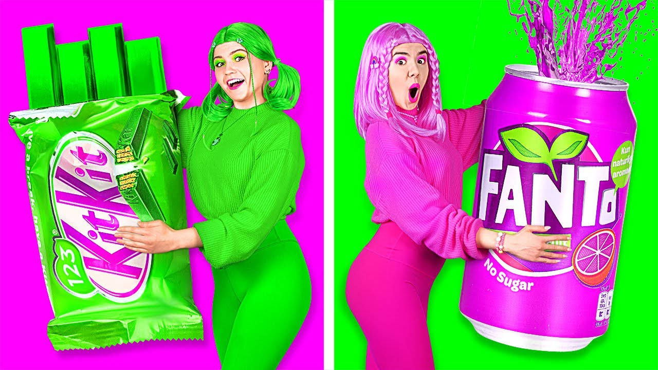 EATING ONLY ONE COLOR FOOD FOR 24 HOURS    Last To STOP Wins! Pink Green Blue Food by 123 GO! TRENDS