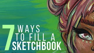 "7 WAYS TO FILL A SKETCHBOOK | Sketch With Me - Gouache Speed Paint | ""Electric"""